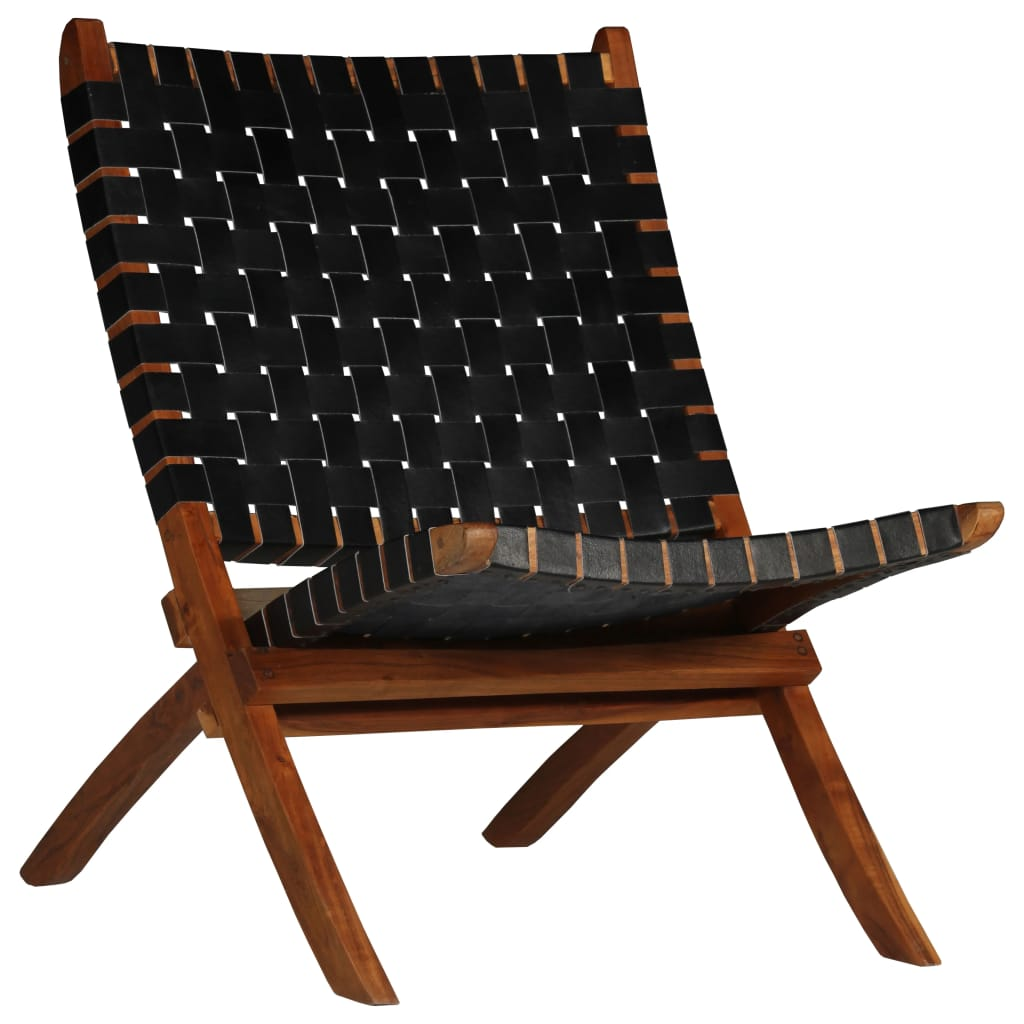 Relaxing Chair Real Leather 59x72x79 cm Crossed-Stripe Black | Furniture Supplies UK