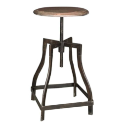 Rolling Stool Wooden Top | Mango Wood Coffee Finish | Furniture Supplies UK