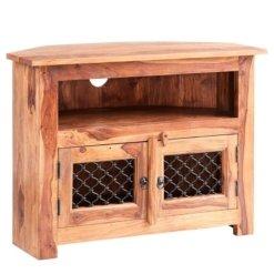 Sheesham Jali Corner TV Unit | Furniture Supplies UK