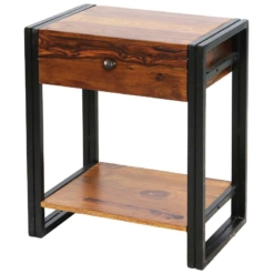 Shipra Industrial Bedside Table With Shelf | Furniture Supplies UK