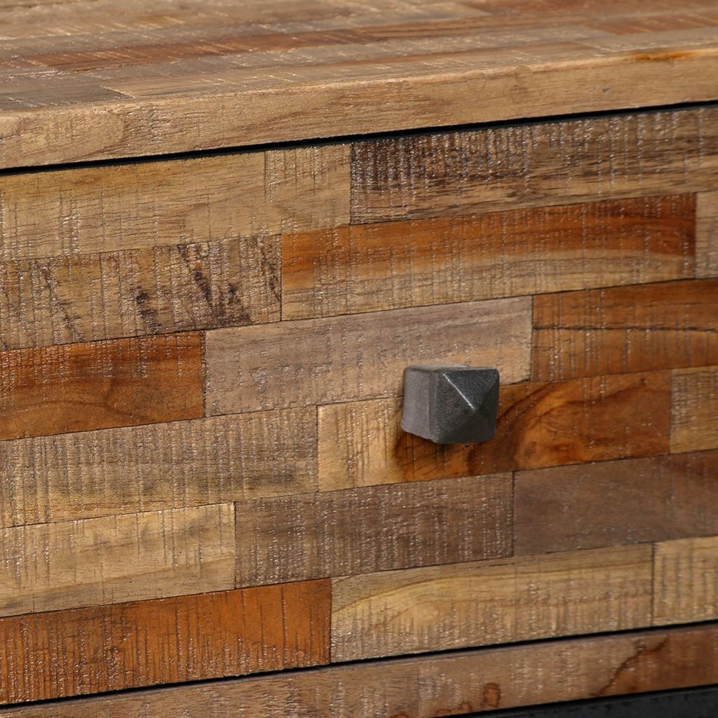 Side Cabinet with 6 Drawers Solid Reclaimed Teak 70x30x76 cm      Brown