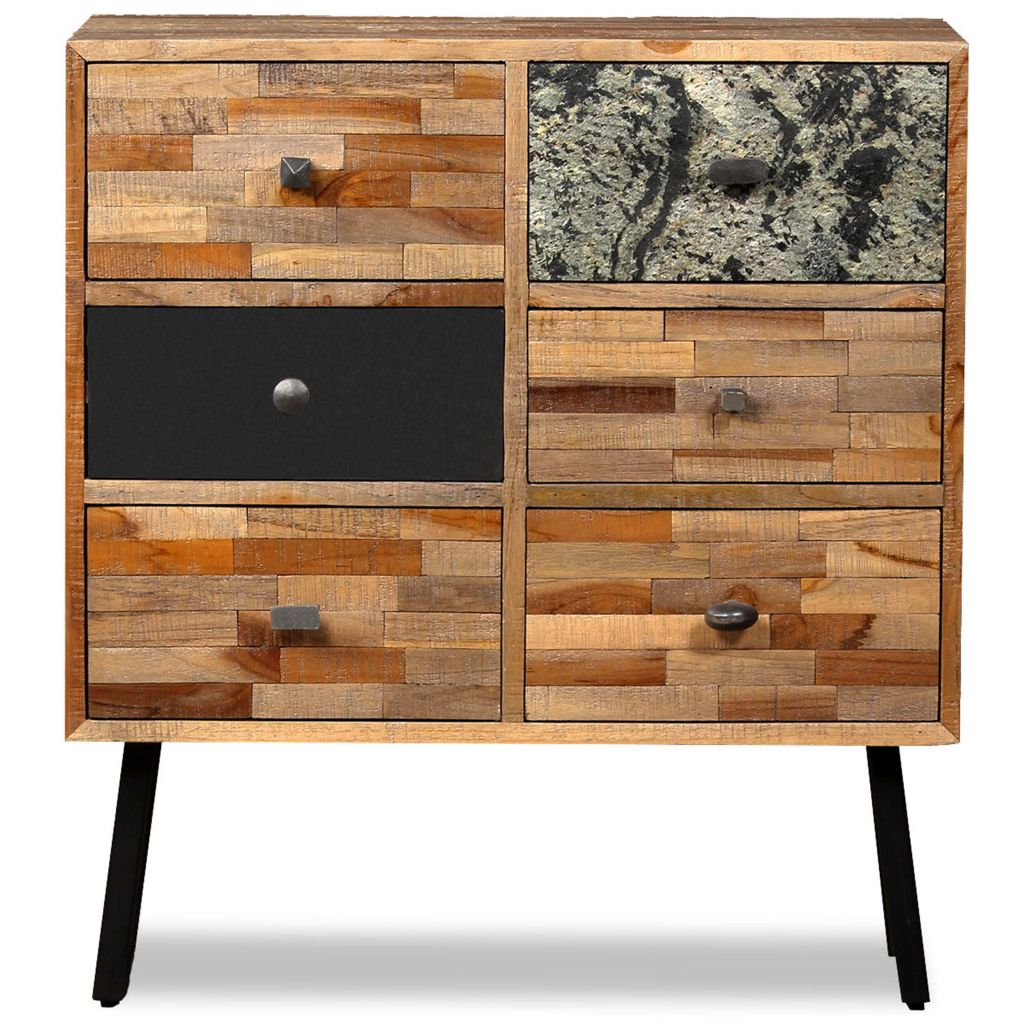 Side Cabinet with 6 Drawers Solid Reclaimed Teak 70x30x76 cm