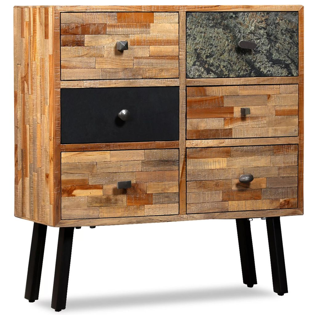 Side Cabinet with 6 Drawers Solid Reclaimed Teak 70x30x76 cm   Furniture Supplies UK