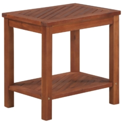 Side Table Solid Acacia Wood 45x33x45 cm   Furniture Supplies UK