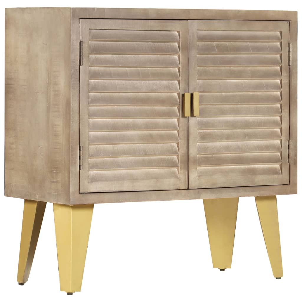 Sideboard 80x35x80 cm Solid Mango Wood and Cast Iron   Furniture Supplies UK