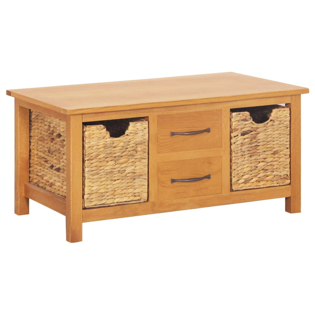 Sideboard 88x53x43 cm Solid Oak Wood and Water Hyacinth   Furniture Supplies UK