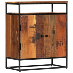 Sideboard Cabinet With Shelf 60x35x76 cm Solid Reclaimed Wood and Steel | Furniture Supplies UK