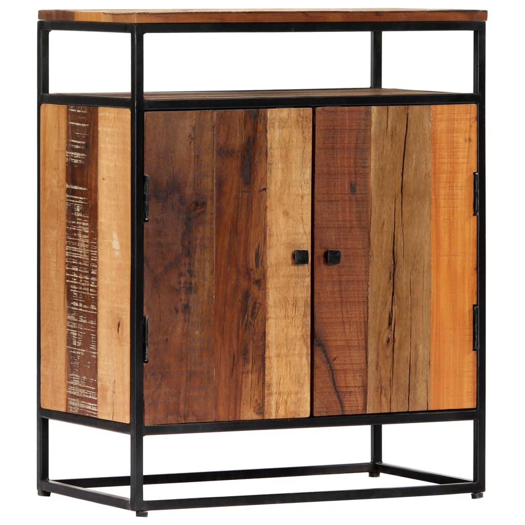 Sideboard Cabinet With Shelf 60x35x76 cm Solid Reclaimed Wood and Steel