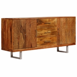 Sideboard Solid Acacia Wood with Carved Doors 158x40x75 cm | Furniture Supplies UK