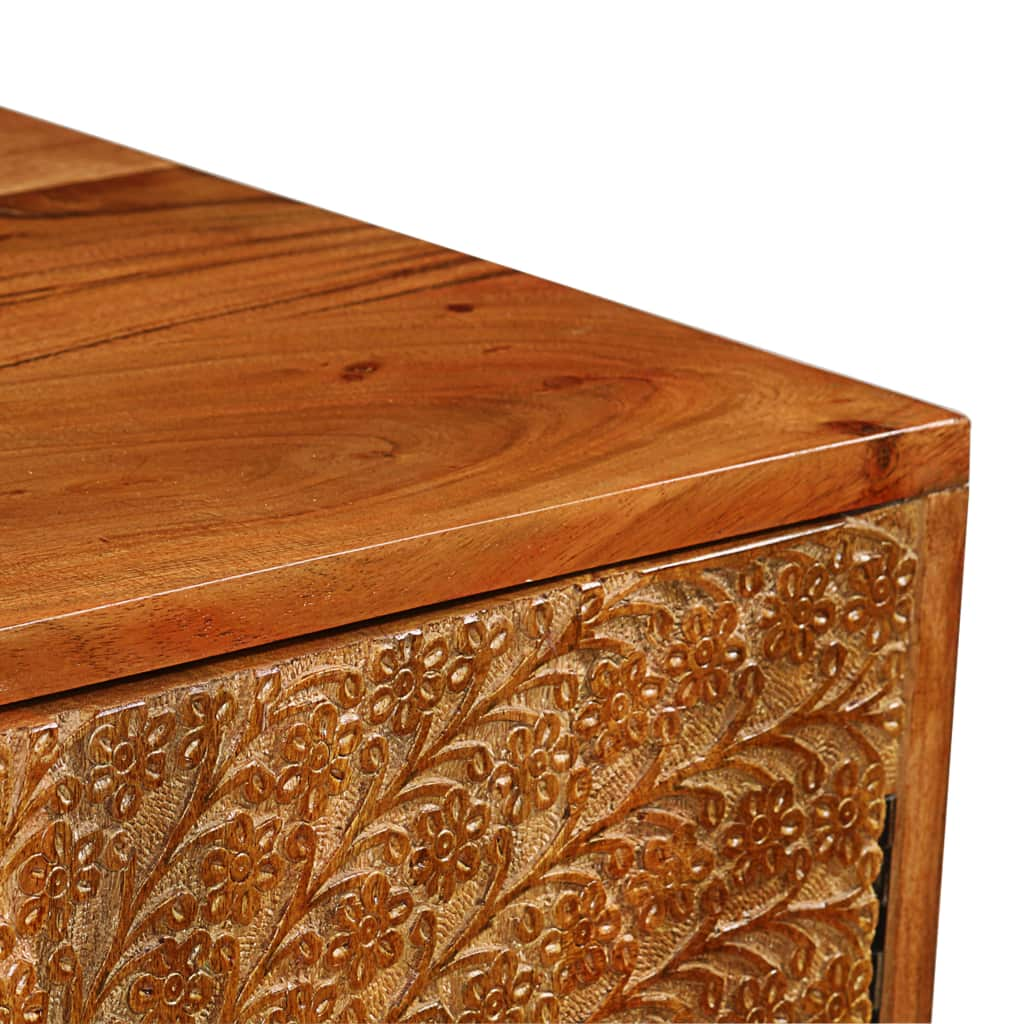 Sideboard Solid Acacia Wood with Carved Doors 158x40x75 cm