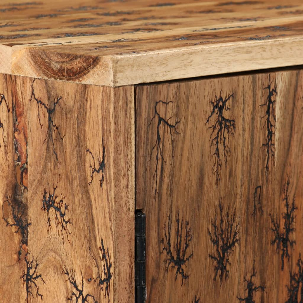Sideboard Solid Acacia Wood with Fractal Patterns 120x30x75 cm |  | Brown