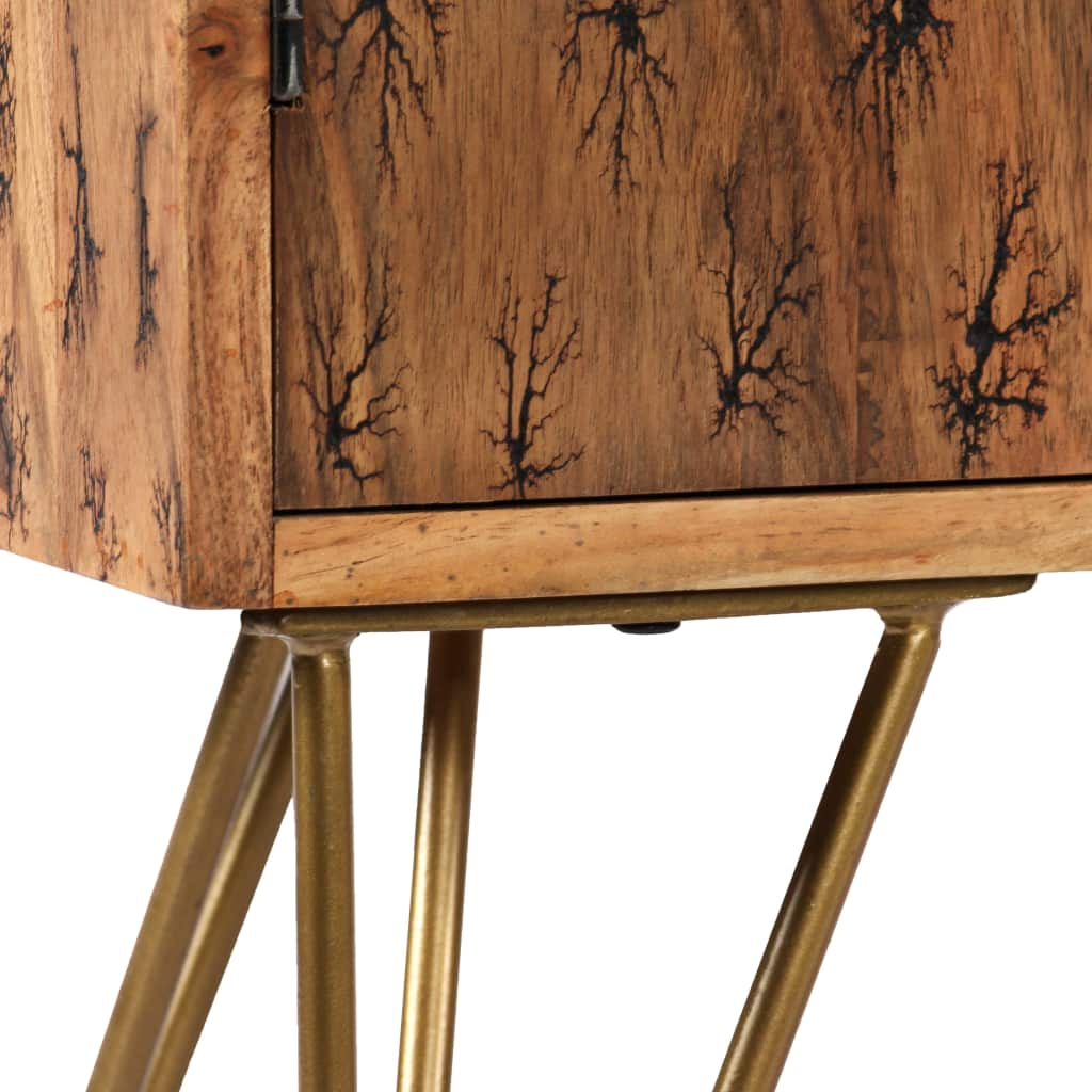 Sideboard Solid Acacia Wood with Fractal Patterns 120x30x75 cm