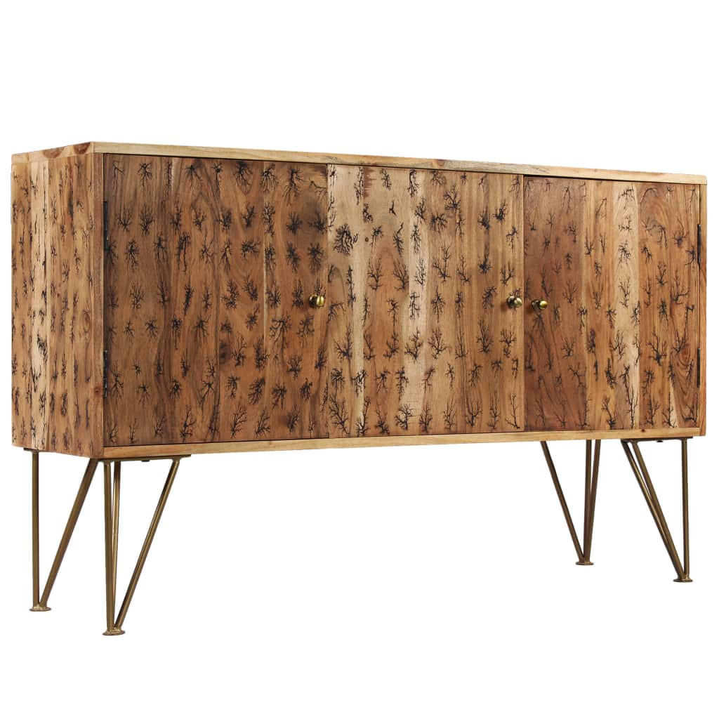 Sideboard Solid Acacia Wood with Fractal Patterns 120x30x75 cm | Furniture Supplies UK