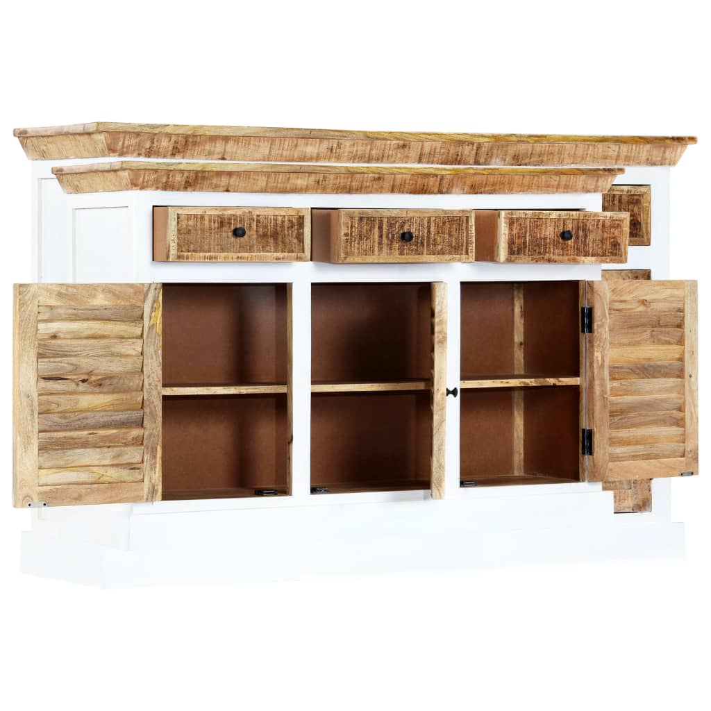 Sideboard White and Brown 140x40x90 cm Solid Rough Mango Wood