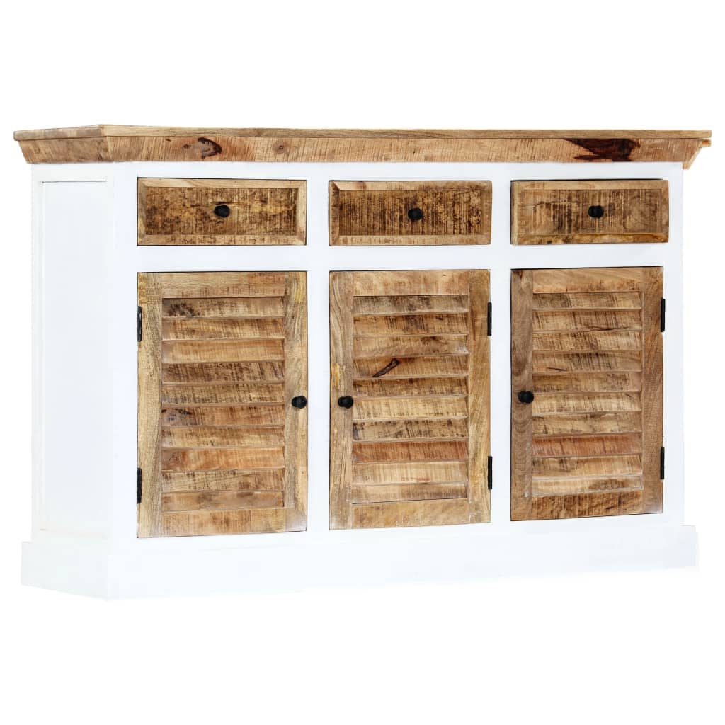 Sideboard White and Brown 140x40x90 cm Solid Rough Mango Wood | Furniture Supplies UK