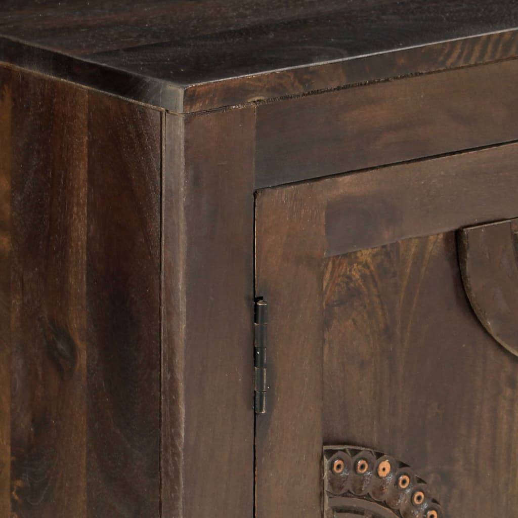 Sideboard with Carved Design 110x35x70 cm Solid Mango Wood |  | Brown