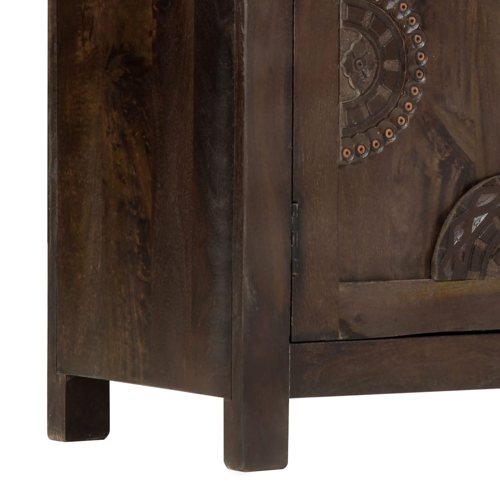 Sideboard with Carved Design 110x35x70 cm Solid Mango Wood
