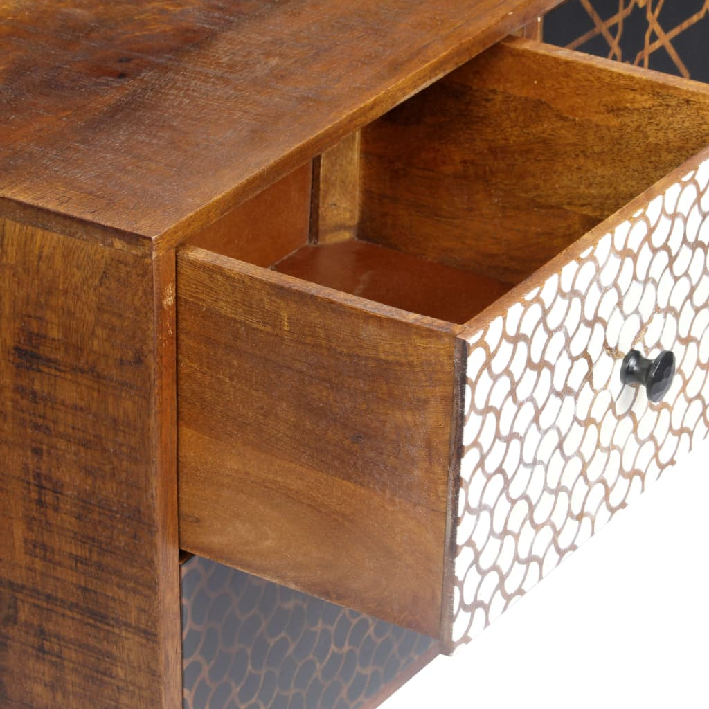 Sideboard with Printed Pattern 130x30x70 cm Solid Mango Wood