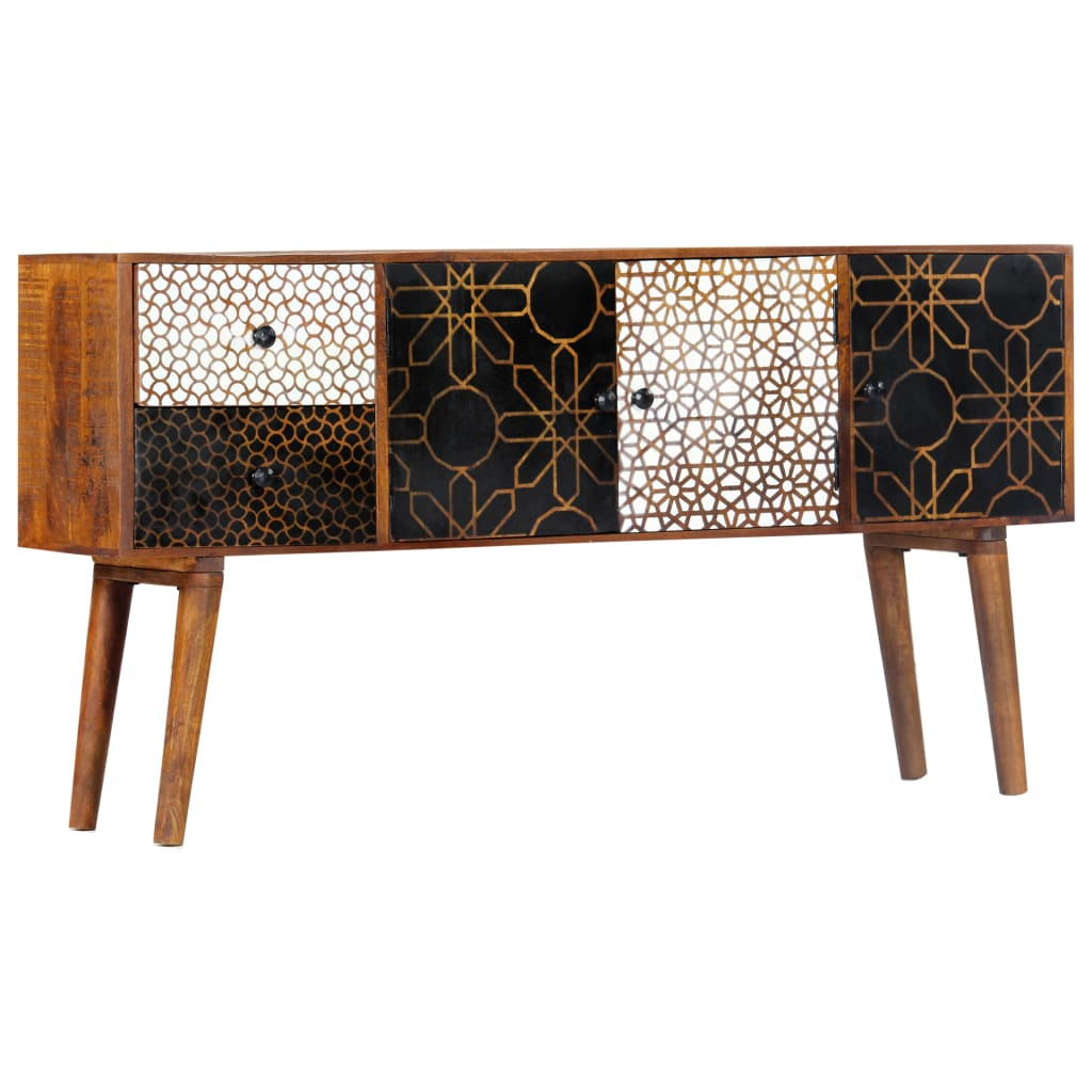 Sideboard with Printed Pattern 130x30x70 cm Solid Mango Wood | Furniture Supplies UK
