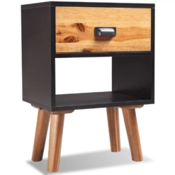 Solid Acacia Wood Bedside Cabinet 40x30x58 cm | Furniture Supplies UK