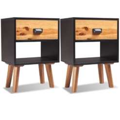 Solid Acacia Wood Bedside Cabinets 2 pcs 40x30x58 cm | Furniture Supplies UK