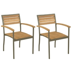 Stackable Outdoor Chairs 2 pcs Solid Acacia Wood and Steel | Furniture Supplies UK