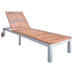 Sun Lounger Solid Acacia Wood | Furniture Supplies UK