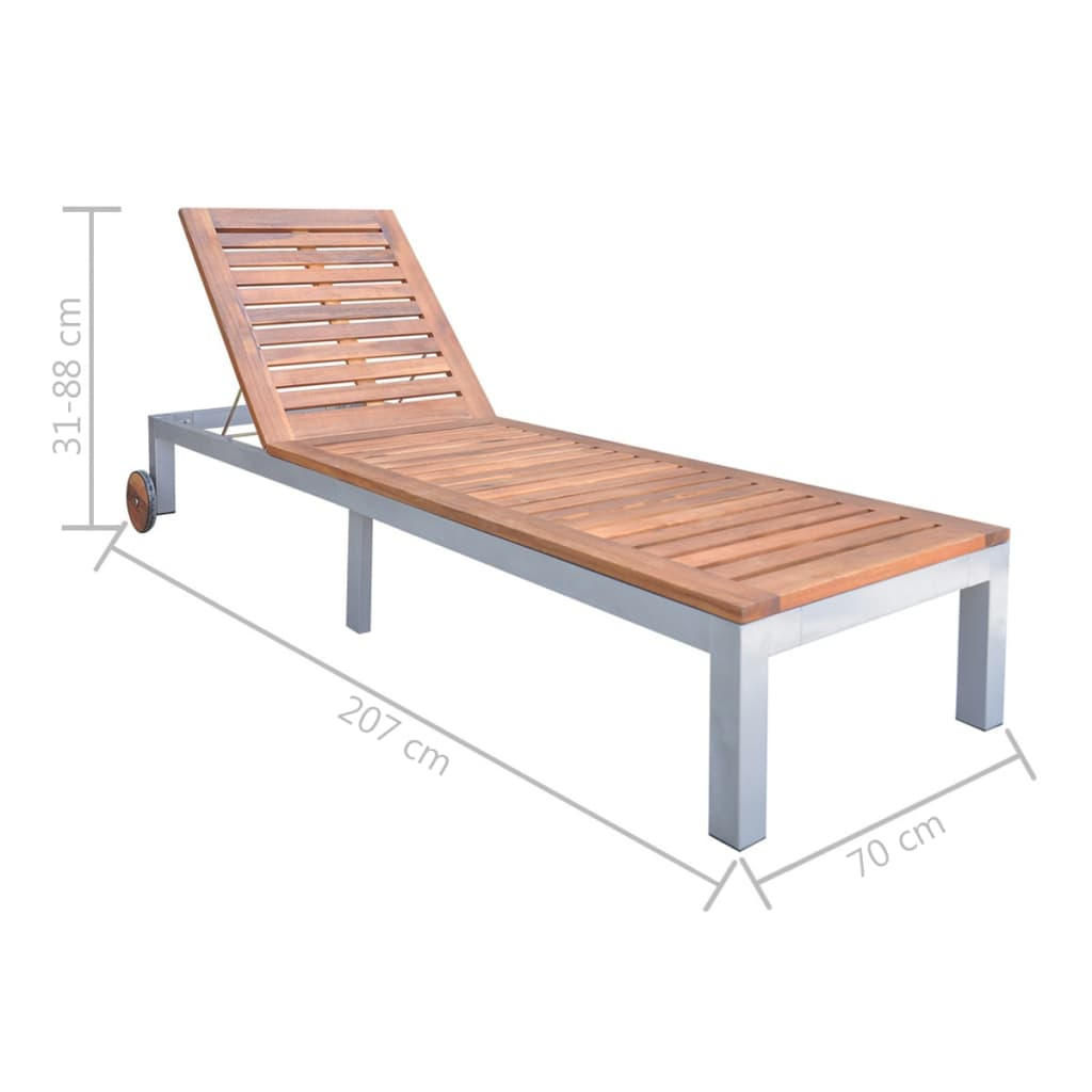 Sun Lounger Solid Acacia Wood