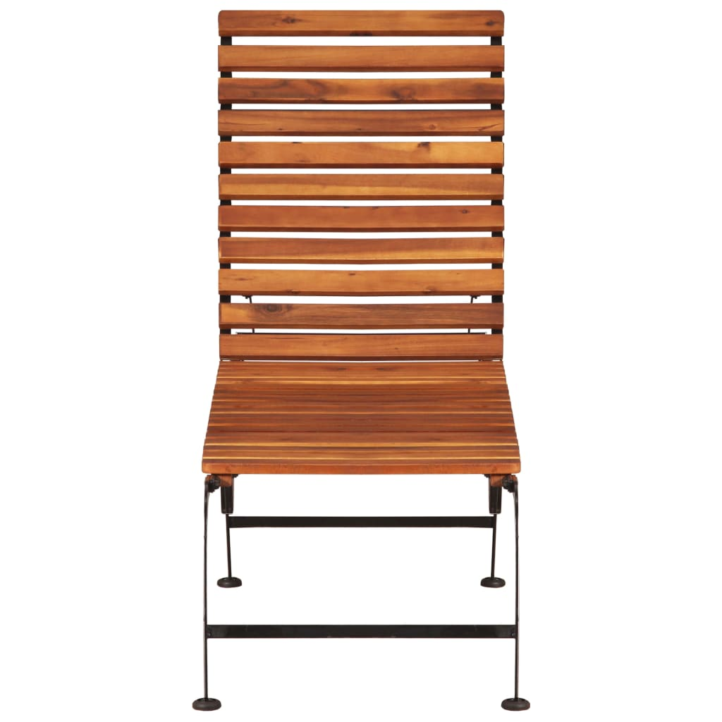 Sun Lounger with Steel Legs Solid Acacia Wood |  | Brown