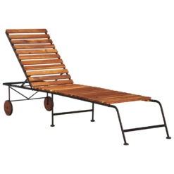 Sun Lounger with Steel Legs Solid Acacia Wood | Furniture Supplies UK
