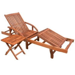 Sun Lounger with Table Solid Acacia Wood | Furniture Supplies UK