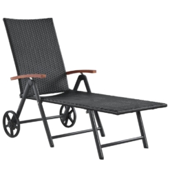 Sun Lounger with Wheels Poly Rattan Black | Furniture Supplies UK