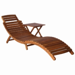 Sunlounger with Table Solid Acacia Wood Brown | Furniture Supplies UK