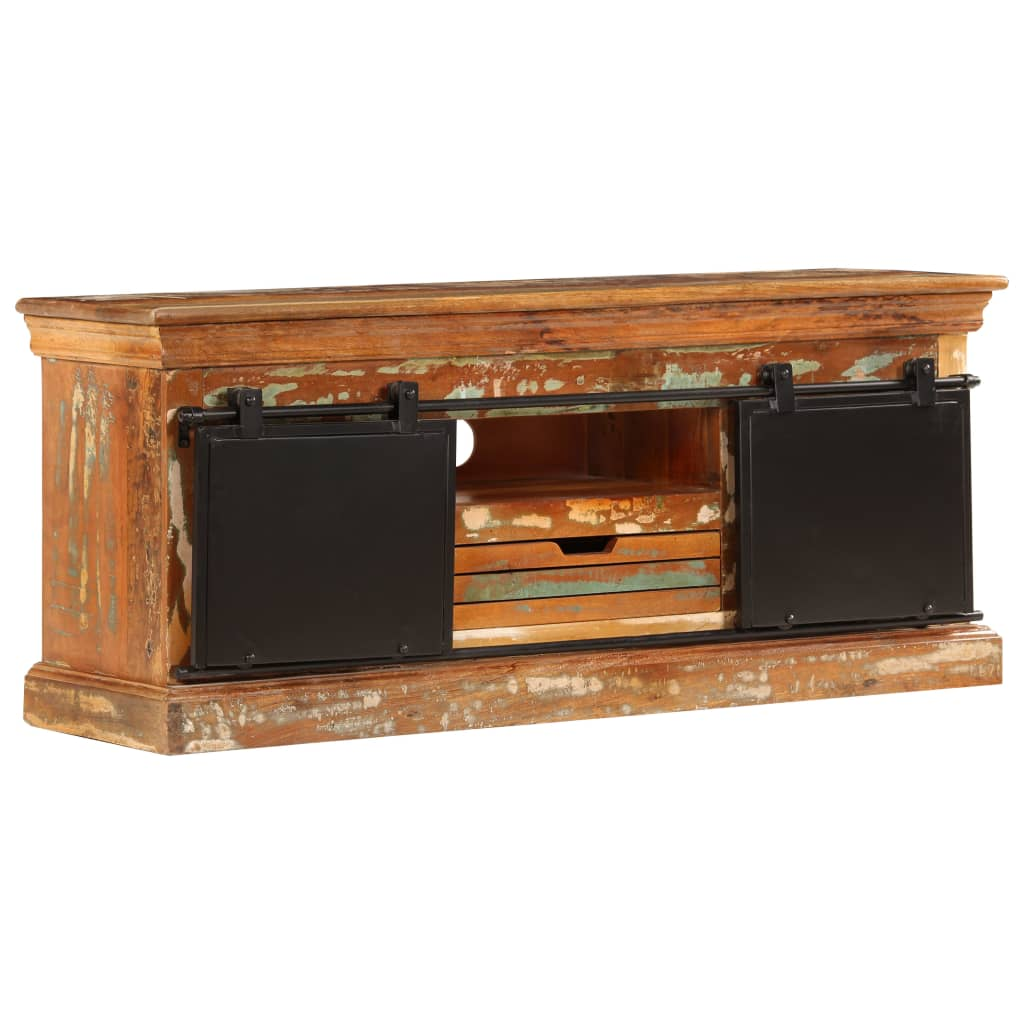 TV Cabinet 110x30x45 cm Solid Reclaimed Wood | Furniture Supplies UK