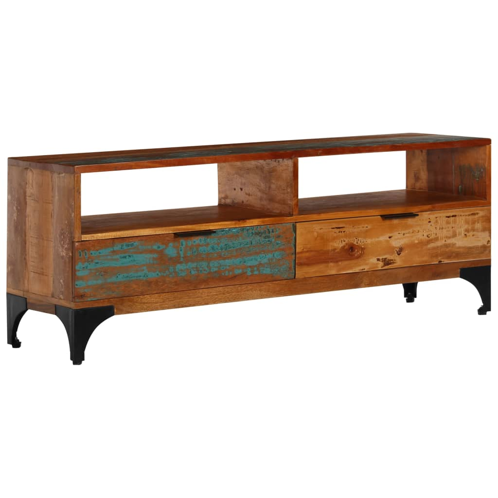 TV Cabinet 118x35x45 cm Solid Reclaimed Wood | Furniture Supplies UK