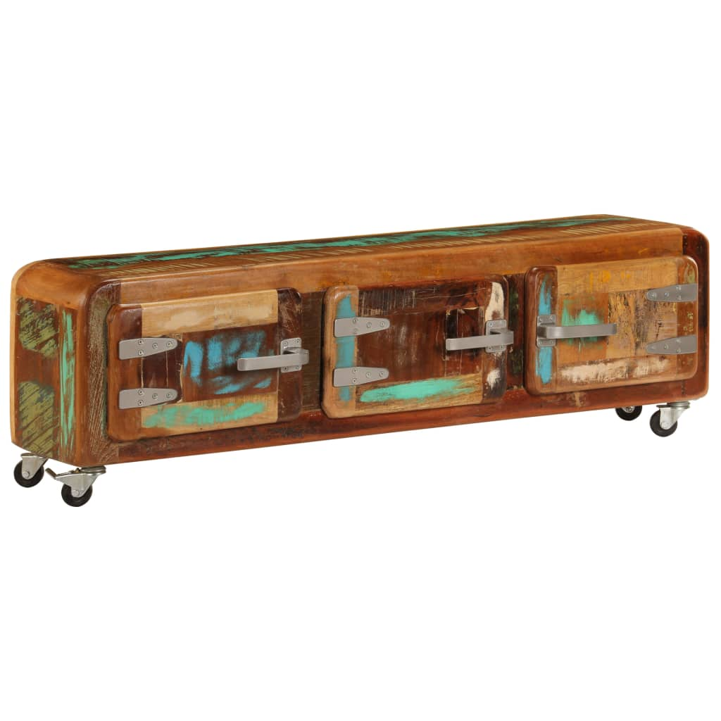 TV Cabinet 120x30x37 cm Solid Reclaimed Wood   Furniture Supplies UK