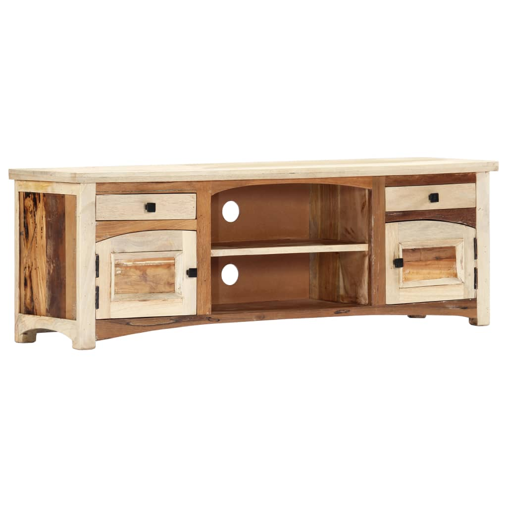 TV Cabinet 120x30x40 cm Solid Reclaimed Wood   Furniture Supplies UK