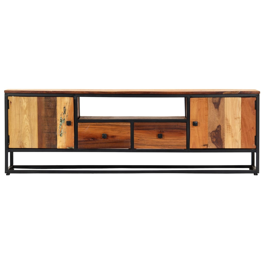 TV Cabinet 120x30x40 cm Solid Reclaimed Wood and Steel