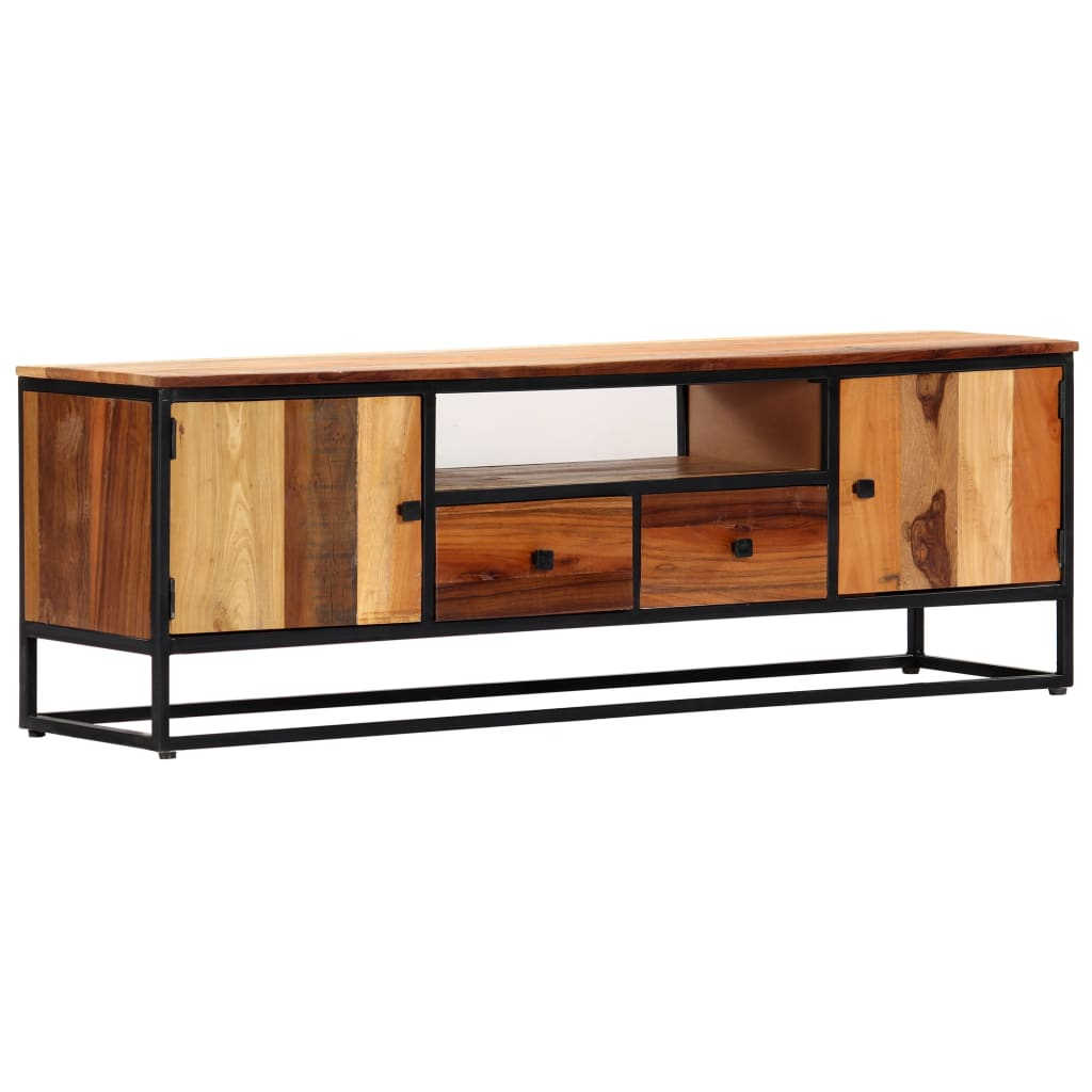 TV Cabinet 120x30x40 cm Solid Reclaimed Wood and Steel   Furniture Supplies UK