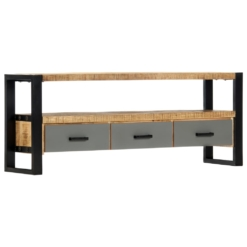 TV Cabinet 130x30x50 cm Solid Mango Wood | Furniture Supplies UK