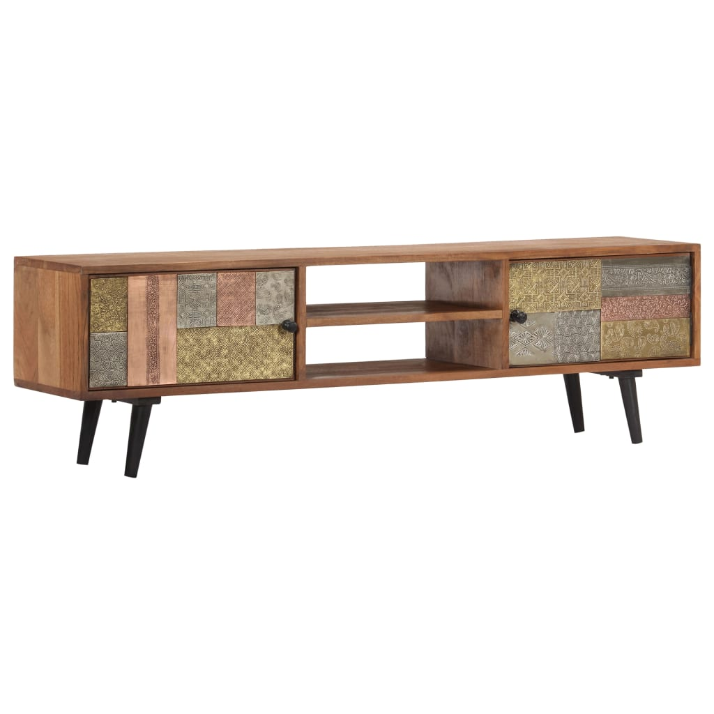 TV Cabinet 140x30x40 cm Solid Acacia Wood | Furniture Supplies UK