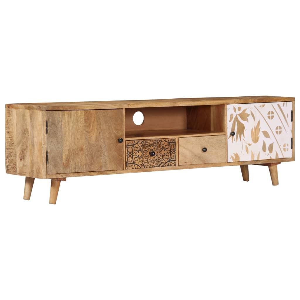TV Cabinet 140x30x40 cm Solid Mango Wood   Furniture Supplies UK