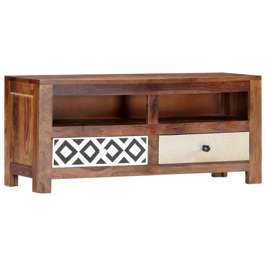 TV Cabinet 90x30x40 cm Solid Sheesham Wood | Furniture Supplies UK