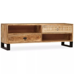 TV Cabinet Solid Mango Wood 120x30x40 cm | Furniture Supplies UK