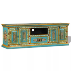 TV Cabinet Solid Mango Wood Blue Hand Painted | Furniture Supplies UK
