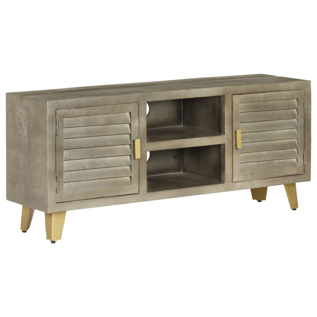 TV Cabinet Solid Mango Wood Grey with Brass 110x30x48 cm   Furniture Supplies UK