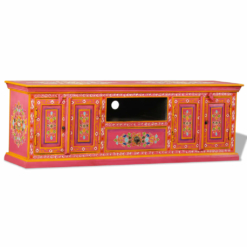 TV Cabinet Solid Mango Wood Pink Hand Painted | Furniture Supplies UK