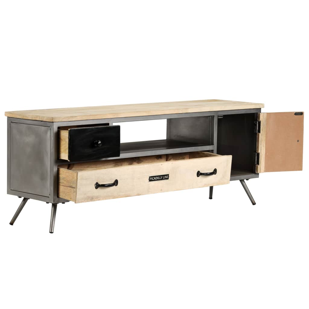 TV Cabinet Solid Mango Wood and Steel 120x30x45 cm