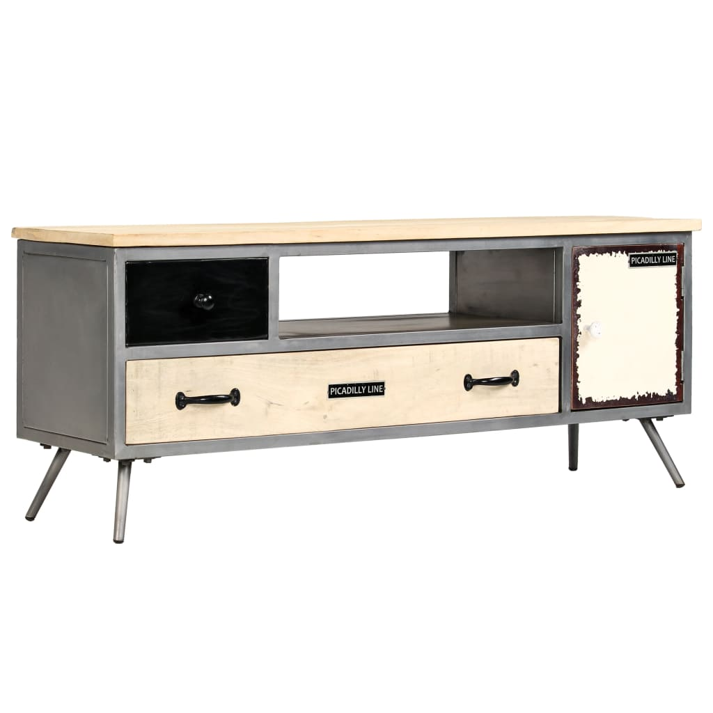 TV Cabinet Solid Mango Wood and Steel 120x30x45 cm | Furniture Supplies UK