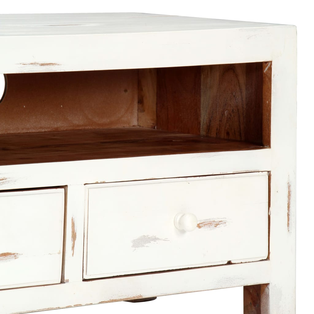 TV Cabinet White 120x30x40 cm Solid Acacia Wood